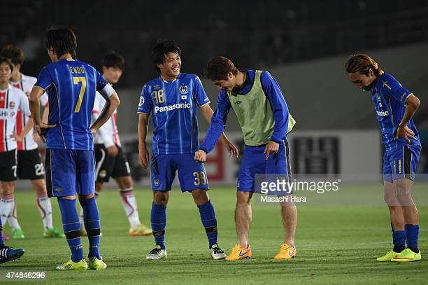Ritsu Doan of Gamba Osaka looks on after the AFC Champions League Round of 16 match between Gamba Osaka and FC Seoul at Expo '70 Stadium on May 27...