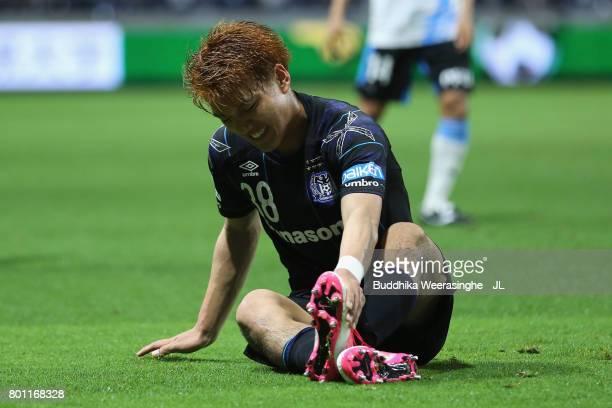 Ritsu Doan of Gamba Osaka reacts in action during the JLeague J1 match between Gamba Osaka and Kawasaki Frontale at Suita City Football Stadium on...