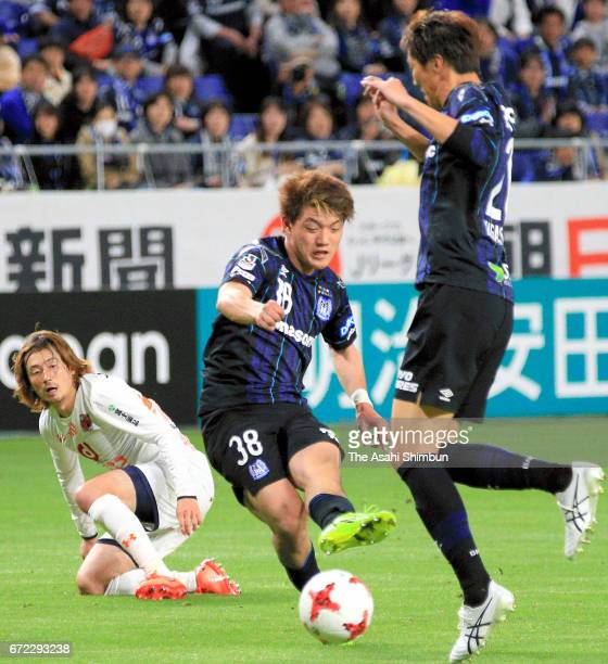 Ritsu Doan of Gamba Osaka scores his side's sixth goal during the JLeague J1 match between Gamba Osaka and Omiya Ardija at Suita City Football...