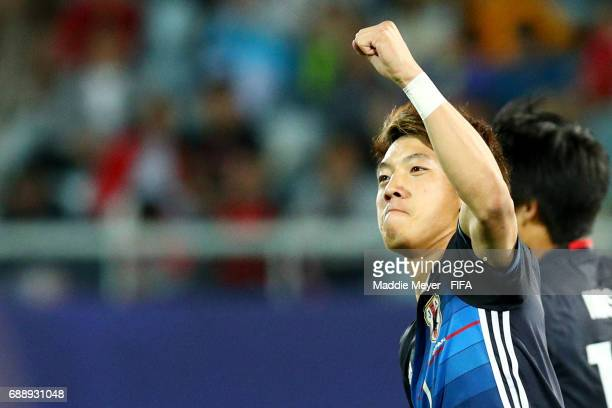 Ritsu Doan of Japan celebrates after scoring a goal during the FIFA U20 World Cup Korea Republic 2017 group D match between Japan and Italy at...
