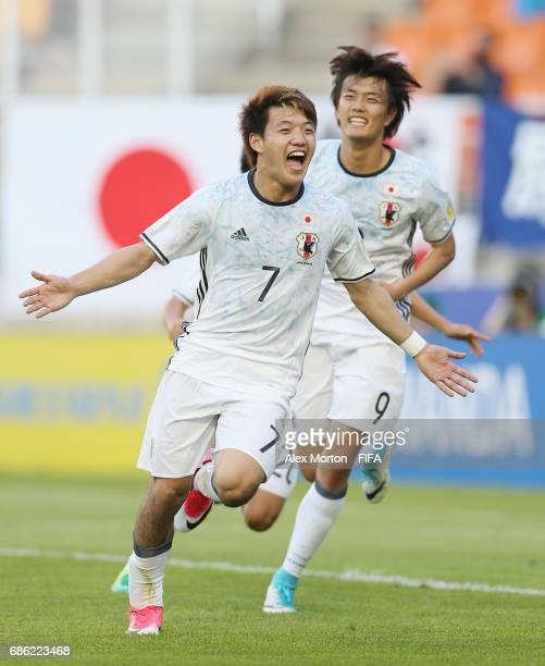 Ritsu Doan of Japan celebrates after scoring their second goal during the FIFA U20 World Cup Korea Republic 2017 group D match between South Africa...
