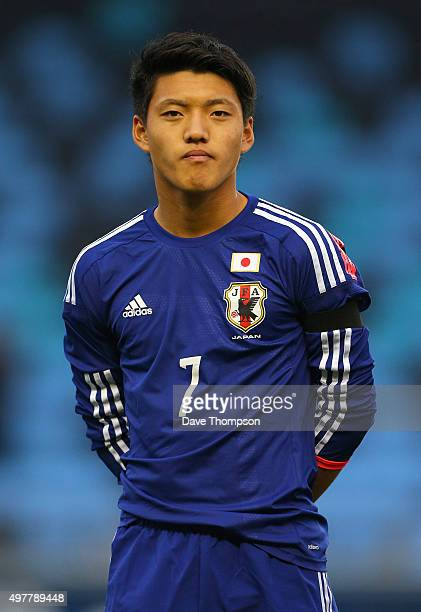 Ritsu Doan of Japan during the U19 International friendly match between England and Japan at Manchester City Academy Stadium on November 15 2015 in...