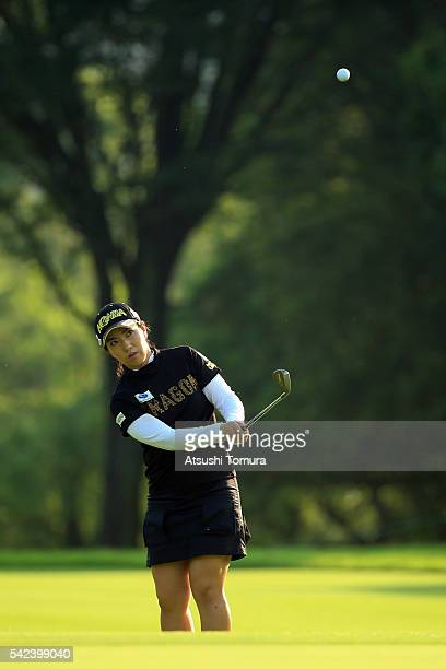 Ritsuko Ryu of Japan chips onto the 6th green during the first round of the Earth Mondamin Cup at the Camellia Hills Country Club on June 23 2016 in...