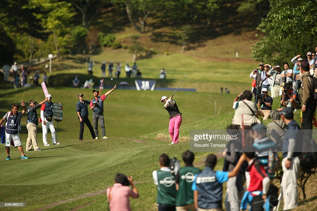 <a gi-track='captionPersonalityLinkClicked' href=/galleries/search?phrase=Ritsuko+Ryu&family=editorial&specificpeople=7313575 ng-click='$event.stopPropagation()'>Ritsuko Ryu</a> of Japan hits her second shot on the 18th hole during the second round of the CyberAgent Ladies Golf Tournament at the Grand Fields Country Club on April 30, 2016 in Mishima, Japan.