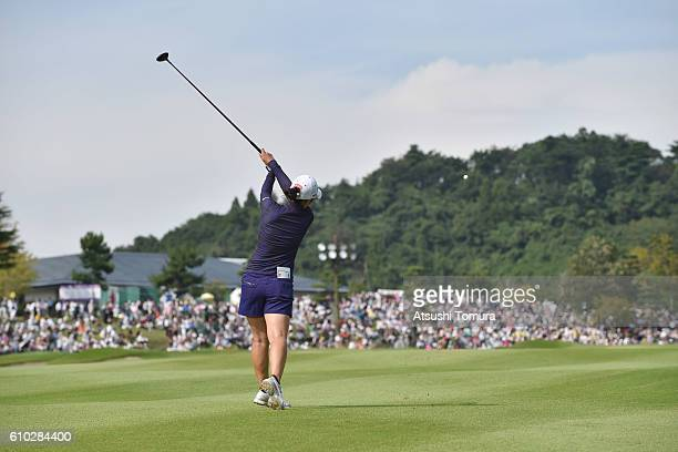 Ritsuko Ryu of Japan hits her second shot on the 18th hole during the final round of the Miyagi TV Cup Dunlop Ladies Open 2016 at the Rifu Golf Club...