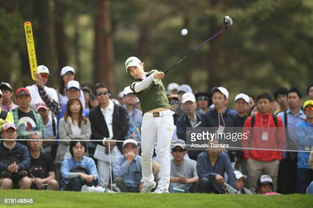 Ritsuko Ryu of Japan hits her second shot on the 3rd hole during the second round of the World Ladies Championship Salonpas Cup at the Ibaraki Golf...