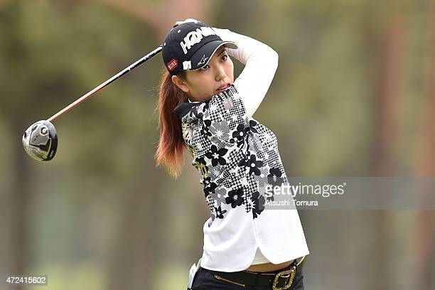 Ritsuko Ryu of Japan hits her tee shot on the 11th hole during the first round of the World Ladies Championship Salonpas Cup at the Ibaraki Golf Club...