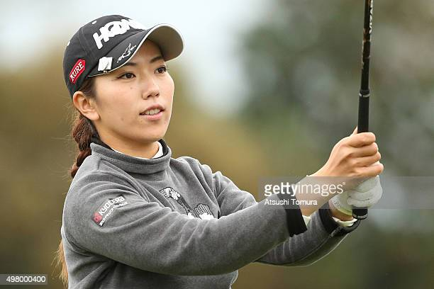 Ritsuko Ryu of Japan hits her tee shot on the 1st hole during the second round of the Daio Paper Elleair Ladies Open 2015 at the Itsuurateien Country...