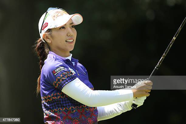 Ritsuko Ryu of Japan hits her tee shot on the 2nd hole during the second round of the Nichirei Ladies at the Sodegaura Country Club Shinsode Course...