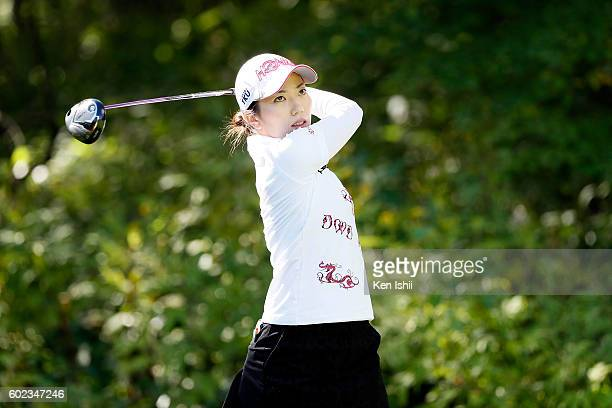Ritsuko Ryu of Japan hits her tee shot on the 2nd hole during the final round of the 49th LPGA Championship Konica Minolta Cup 2016 at the...