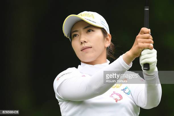 Ritsuko Ryu of Japan hits her tee shot on the 4th hole during the second round of the meiji Cup 2017 at the Sapporo Kokusai Country Club Shimamatsu...