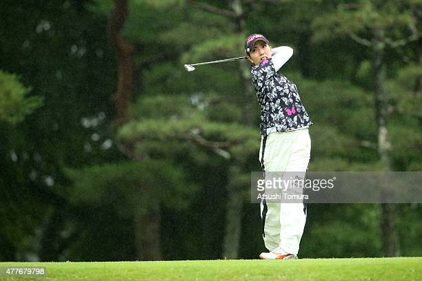 Ritsuko Ryu of Japan hits her tee shot on the 7th hole during the first round of the Nichirei Ladies at the Sodegaura Country Club Shinsode Course on...