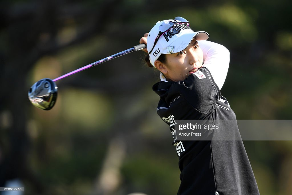 Ritsuko Ryu of Japan hits her tee shot on the 7th hole during the first round of the World Ladies Championship Salonpas Cup at the Ibaraki Golf Club on May 5, 2016 in Tsukubamirai, Japan.