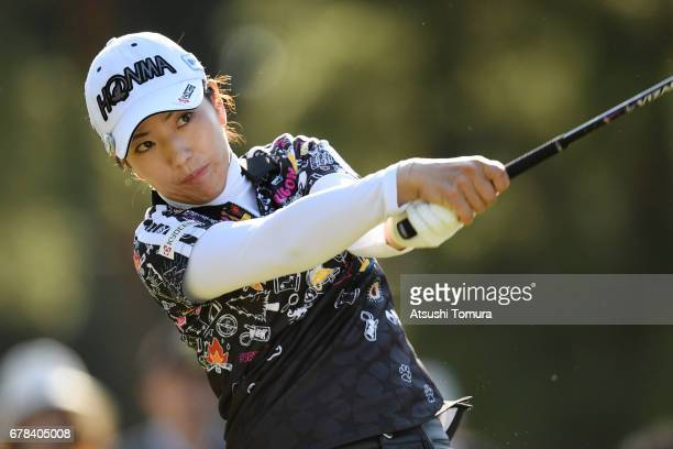 Ritsuko Ryu of Japan hits her tee shot on the 7th hole during the first round of the World Ladies Championship Salonpas Cup at the Ibaraki Golf Club...