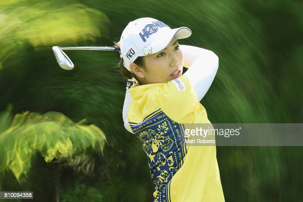 Ritsuko Ryu of Japan hits her tee shot on the 7th hole during the first round of the Nipponham Ladies Classics at the Ambix Hakodate Club on July 7...
