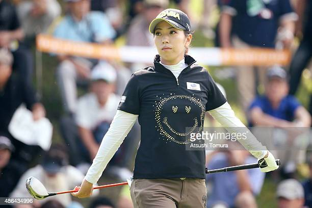 Ritsuko Ryu of Japan looks on during the first round of the Golf 5 Ladies Tournament 2015 at the Mizunami Country Club on September 4 2015 in...