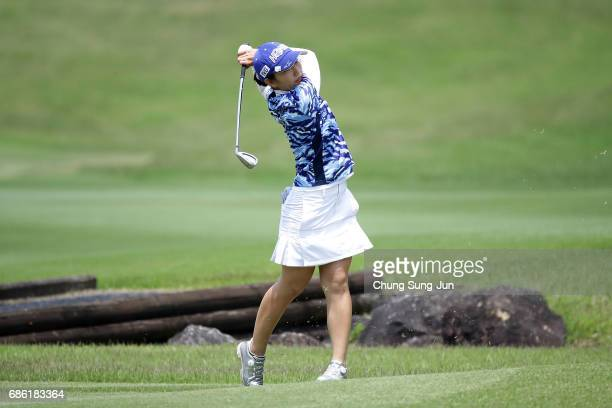 Ritsuko Ryu of Japan plays a shot on the 9th hole during the final round of the Chukyo Television Bridgestone Ladies Open at the Chukyo Golf Club...