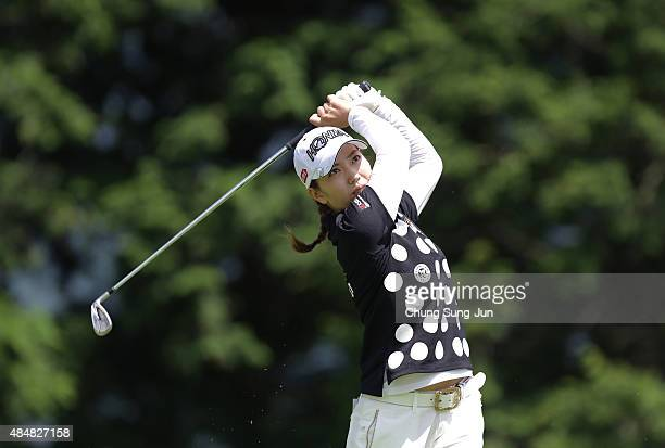Ritsuko Ryu of Japan plays a tee shot on the fifth hole during the second round of the CAT Ladies Golf Tournament HAKONE JAPAN 2015 at the Daihakone...