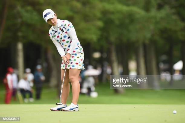 Ritsuko Ryu of Japan putts on the first green during the final round of the NEC Karuizawa 72 Golf Tournament 2017 at the Karuizawa 72 Golf North...