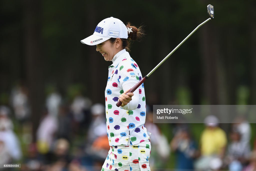 Ritsuko Ryu of Japan reacts after her putt on the 18th green during the final round of the NEC Karuizawa 72 Golf Tournament 2017 at the Karuizawa 72 Golf North Course on August 13, 2017 in Karuizawa, Nagano, Japan.