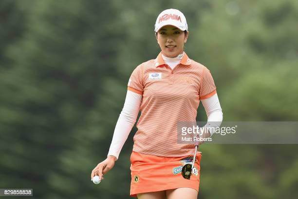 Ritsuko Ryu of Japan reacts after her putt ont he first green during the first round of the NEC Karuizawa 72 Golf Tournament 2017 at the Karuizawa 72...