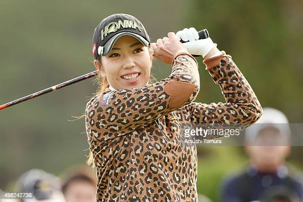 Ritsuko Ryu of Japan smiles during the final round of the Daio Paper Elleair Ladies Open 2015 at the Itsuurateien Country Club on November 22 2015 in...