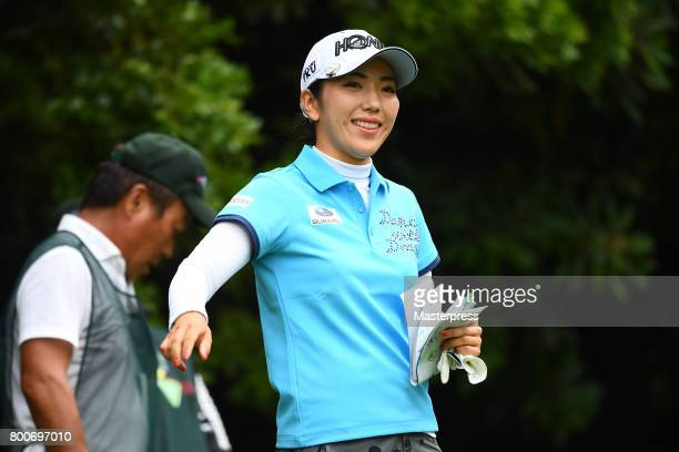 Ritsuko Ryu of Japan smiles during the final round of the Earth Mondamin Cup at the Camellia Hills Country Club on June 25 2017 in Sodegaura Japan