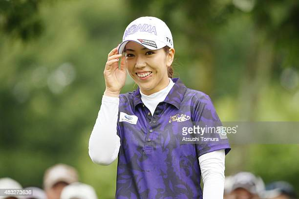 Ritsuko Ryu of Japan smiles during the first round of the meiji Cup 2015 at the Sapporo Kokusai Country Club on August 7 2015 in Kitahiroshima Japan