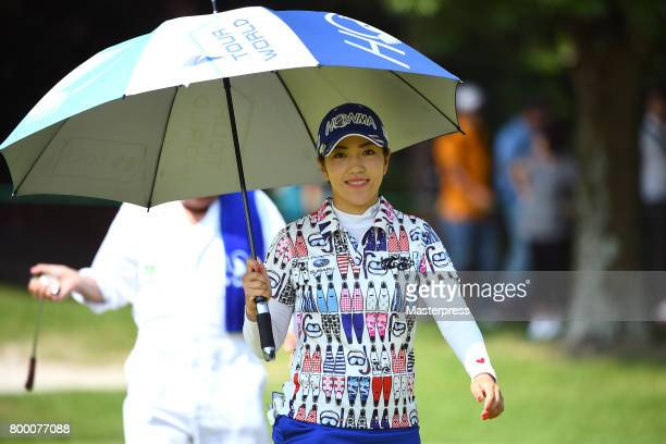 Ritsuko Ryu of Japan smiles during the second round of the Earth Mondamin Cup at the Camellia Hills Country Club on June 23 2017 in Sodegaura Japan