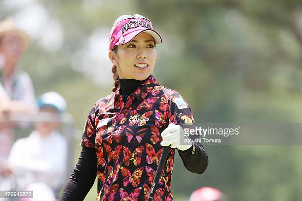 Ritsuko Ryu of Japan smiles during the third round of the Suntory Ladies Open at the Rokko Kokusai Golf Club on June 13 2015 in Kobe Japan