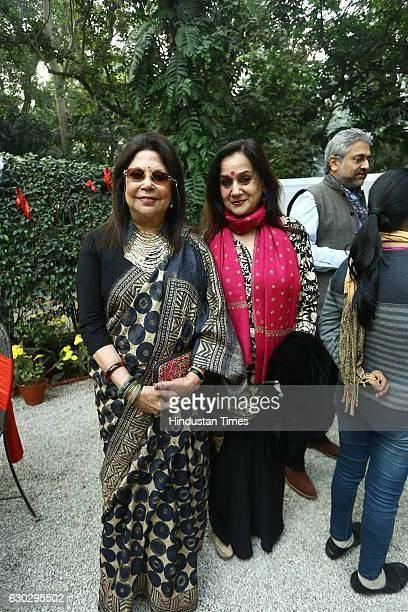 Ritu Kumar and Nalini Singh during the Christmas lunch party hosted by Dilip Cherian and his wife Devi Cherian on December 17 2016 in New Delhi India