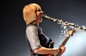 Ritzy Bryan of The Joy Formidable performs live on stage at Earls Court on February 22 2013 in London England