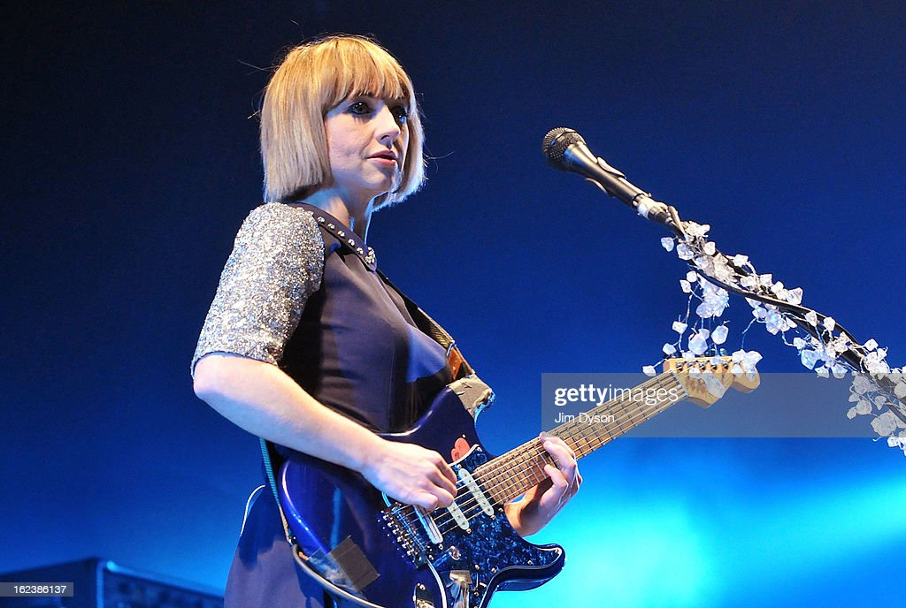 Ritzy Bryan of The Joy Formidable performs live on stage at Earls Court on February 22, 2013 in London, England.
