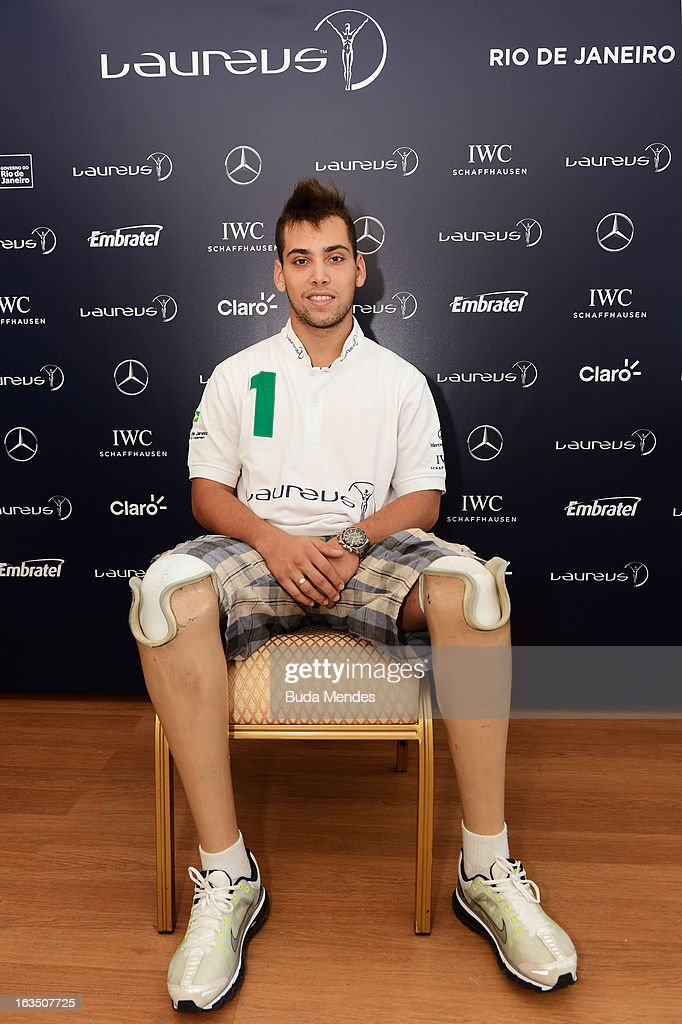 Riunner Alan Fonteles Oliveira poses during day 3 of the 2013 Laureus World Sports Awards on March 11 2013 in Rio de Janeiro Brazil
