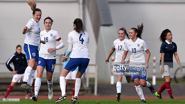 Riva Casley of England celebrates with team mates after scoring her team's second goal during the U17 girl's international friendly match between...