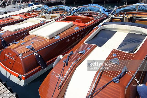 Riva speedboats icons of the Made in Italy luxury design are moored in the Monaco harbor on July 11 2011 Like many symbols of La Dolce Vita Riva...
