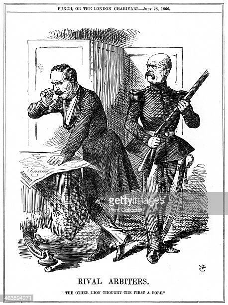 'Rival Arbiters' 1866 Napoleon III Emperor of France and Otto von Bismarck Chancellor of Prussia carving up Europe Their conflicting ambitions led to...