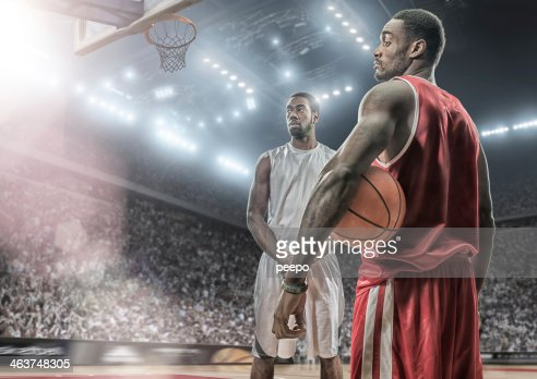 Rival Basketball Players Before The Game : Stock Photo