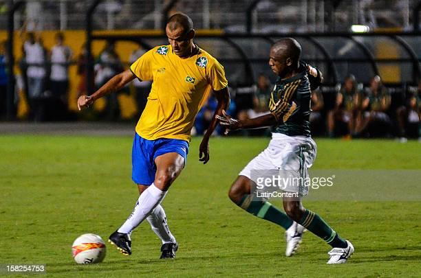 Rivaldo of Brasil kicks the ball during a match between Palmeiras and Brazilian team as part of the farewell match of former goalkeeper Marcos at...