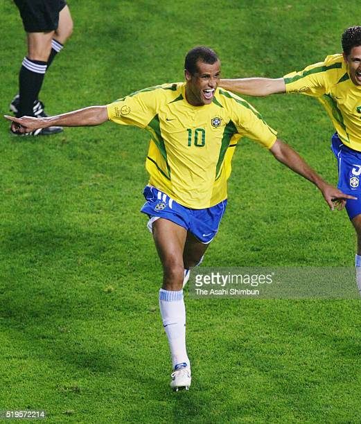 Rivaldo of Brazil celebrates scoring his team's second goal during the FIFA World Cup Korea/Japan Group C match between Brazil and Turkey at the...