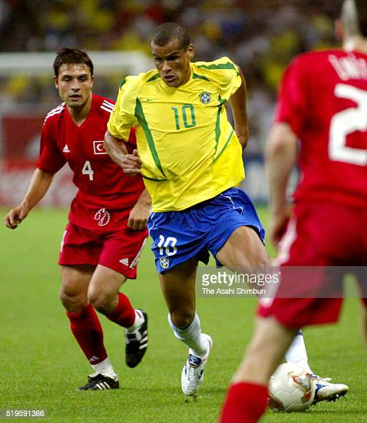 Rivaldo of Brazil in action during the FIFA World Cup Korea/Japan semi final match between Brazil and Turkey at the Saitama Stadium on June 25 2002...