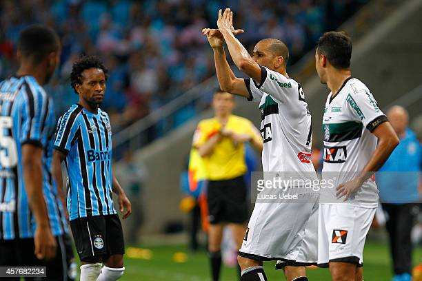 Rivaldo of Figueirense left the field after receives red card during the match Gremio v Figueirense as part of Brasileirao Series A 2014 at Arena do...