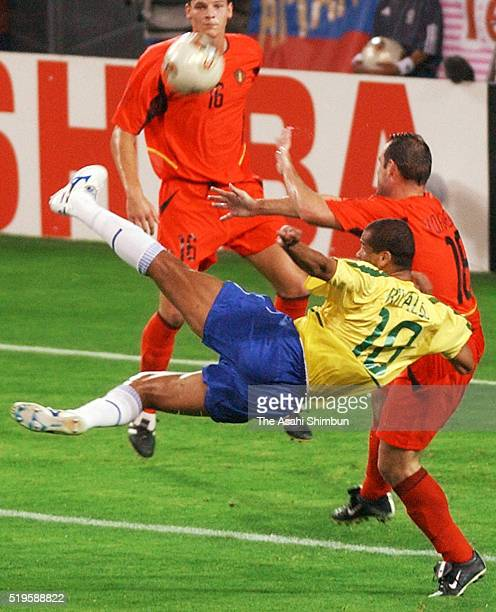 Riveldo of Brazil shoots at goal during the FIFA World Cup Korea/Japan round of 16 match between Brazil and Belgium at the Kobe Wing Stadium on June...