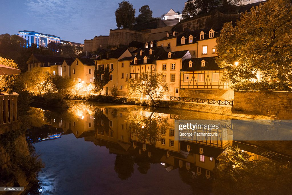 River Alzatte in the city of Luxembourg at night