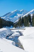 River and a bridge in a winter