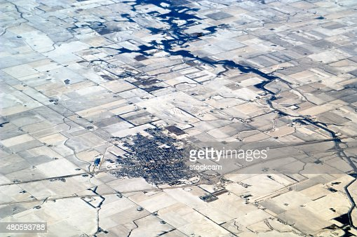 River and fields in snow, Illinois : Stock Photo