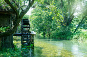 River and waterwheel, The traditional landscape of Japan, The country in summer,