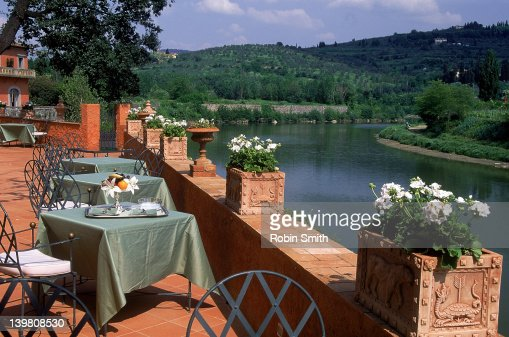 River arno rural landscape from luxury hotel terrace for Terrace 45 menu