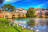 River Avon Christchurch Dorset England UK with bridge and green boat like a painting in vivid bright colourful HDR