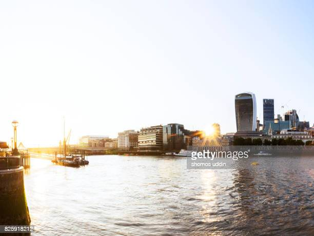 River Bank and the city skyline of London, at sunset